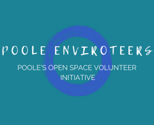 Poole Enviroteers logo is a white lettering placed in front of a blue ring with a turquoise background.