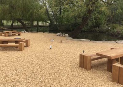Picnic Sets between the play area and miniature railway station