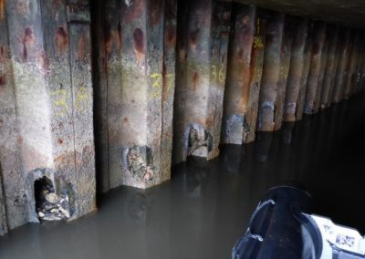 Close-up of corrosion on sheet piling